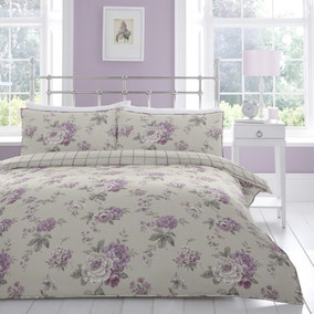 Windermere Mauve Reversible Duvet Cover and Pillowcase Set