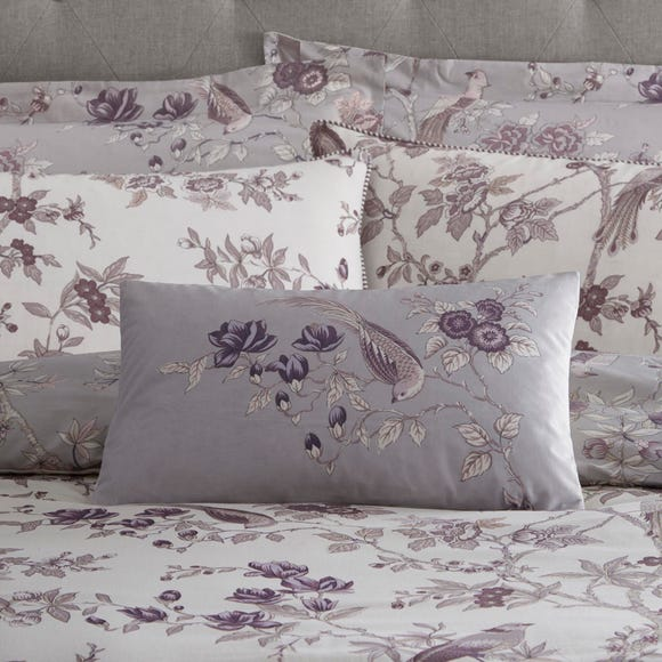 Oriental Bird Purple Cushion Purple