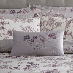 Oriental Bird Purple Cushion