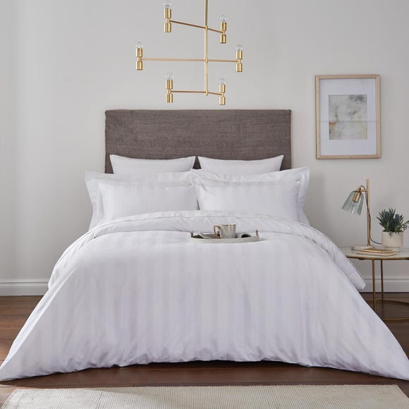 Hotel Egyptian Cotton 230 Thread Count White Stripe Duvet Cover  undefined