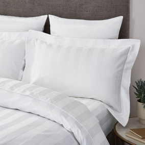 Hotel Egyptian Cotton 230 Thread Count White Stripe Oxford Pillowcase