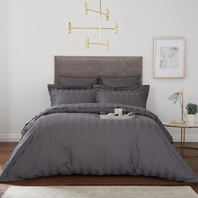Hotel Egyptian Cotton 230 Thread Count Charcoal Stripe Duvet Cover