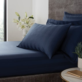 Hotel Egyptian Cotton 230 Thread Count Stripe Fitted Sheet