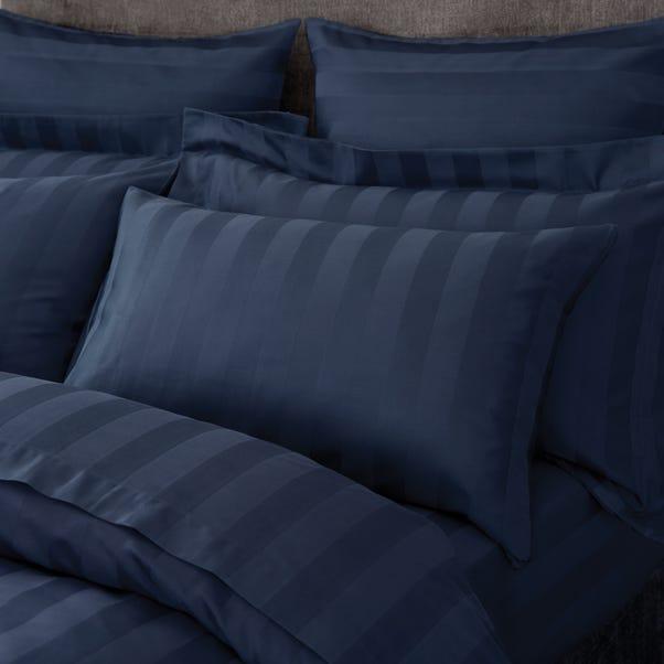 Hotel Egyptian Cotton 230 Thread Count Stripe Housewife Pillowcase Pair Navy