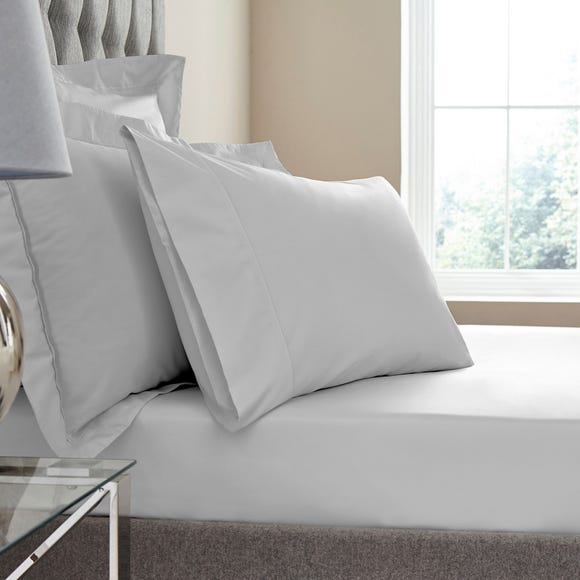 Dorma Egyptian Cotton 400 Thread Count Percale Fitted Sheet Silver undefined