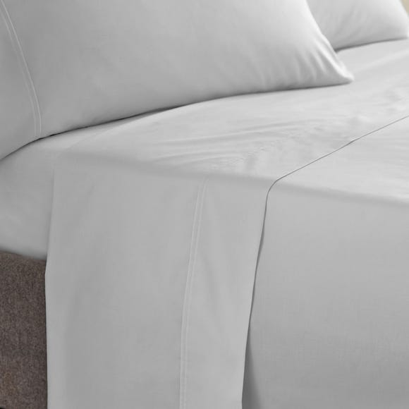 Dorma 400 Thread Count Cotton Percale Flat Sheet Silver undefined