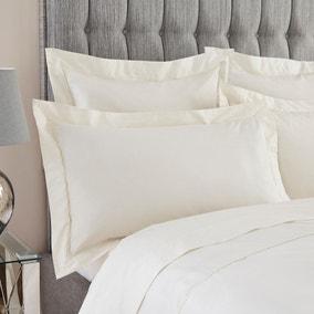Dorma 400 Thread Count Percale Cream Oxford Pillowcase