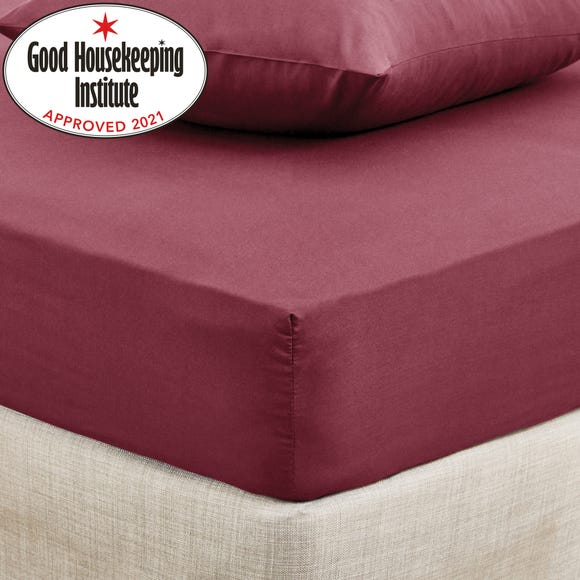 Non Iron Plain Fitted Sheet Claret undefined