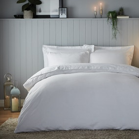 Soft & Cosy Luxury Brushed Cotton White Duvet Cover and Pillowcase Set