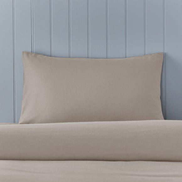 Soft & Cosy Brushed Cotton Natural Housewife Pillowcase Pair