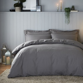 Soft & Cosy Brushed Cotton Dove Grey Duvet Cover and Pillowcase Set