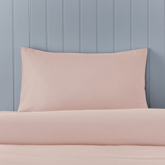 Soft & Cosy Brushed Cotton Pink Housewife Pillowcase Pair
