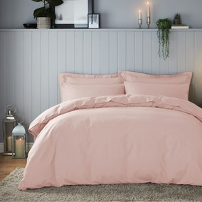 Soft & Cosy Brushed Cotton Pink Duvet Cover and Pillowcase Set