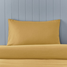 Soft & Cosy Brushed Cotton Ochre Housewife Pillowcase Pair