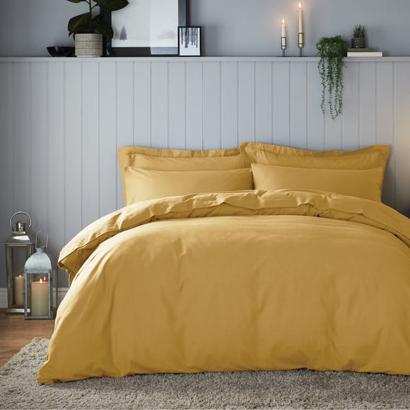 Soft & Cosy Brushed Cotton Ochre Duvet Cover and Pillowcase Set  undefined