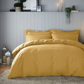 Soft & Cosy Brushed Cotton Ochre Duvet Cover and Pillowcase Set