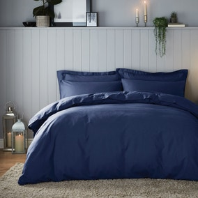Soft & Cosy Luxury Brushed Cotton Navy Duvet Cover and Pillowcase Set