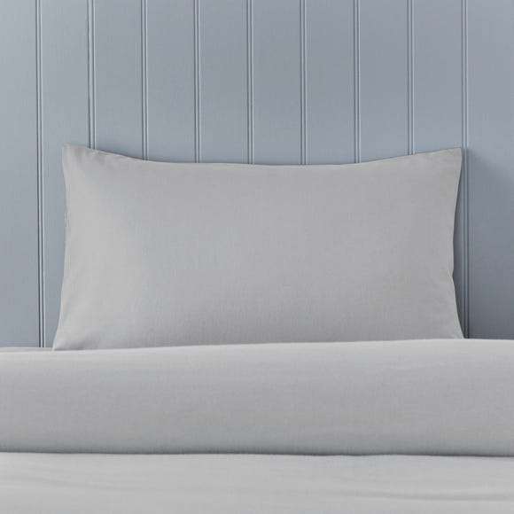 Soft & Cosy Brushed Cotton Silver Housewife Pillowcase Pair