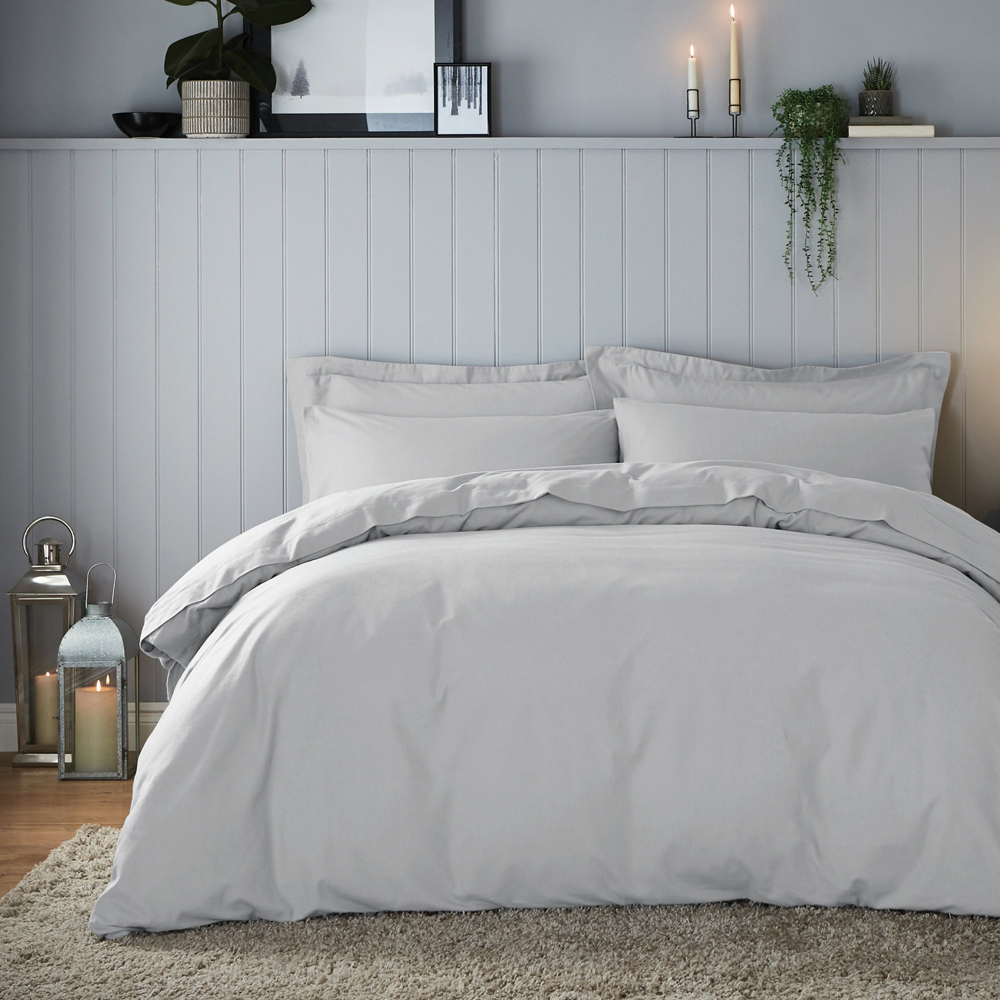 Click to view product details and reviews for Soft Cosy Brushed Cotton Silver Duvet Cover And Pillowcase Set Silver.