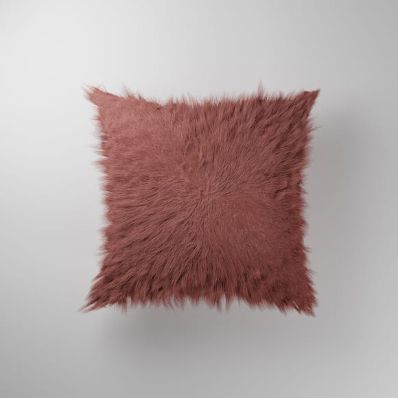 Mongolian Faux Fur Cushion Rose (Pink) undefined