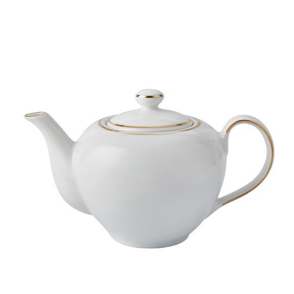 Gold Band Teapot White