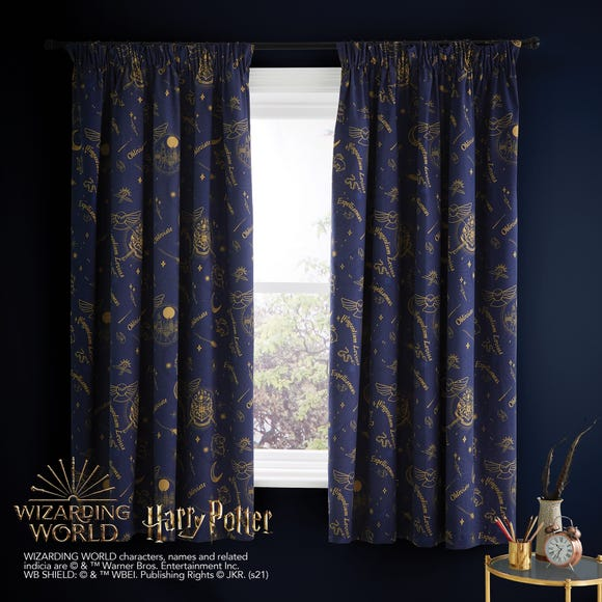 Harry Potter Hogwarts Blackout Pencil Pleat Curtains  undefined