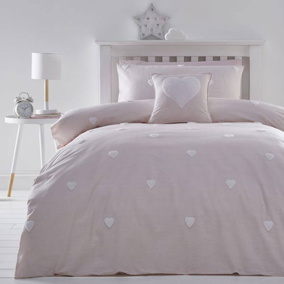 Pink Tufted Hearts 100% Cotton Duvet Cover and Pillowcase Set  undefined