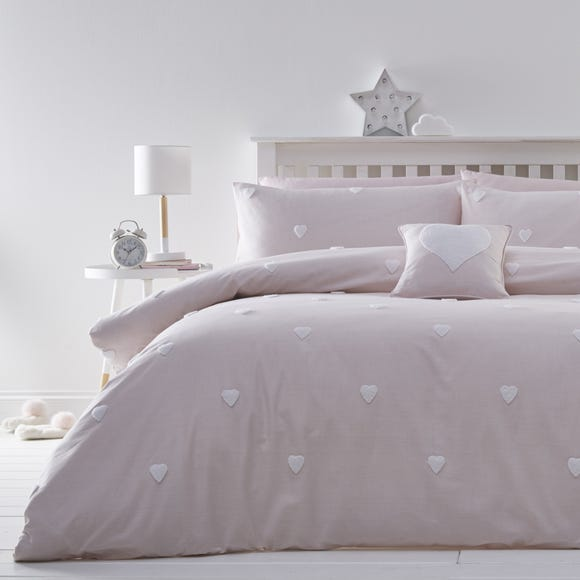 Pink Tufted Hearts 100% Cotton Duvet Cover and Pillowcase Set Pink undefined