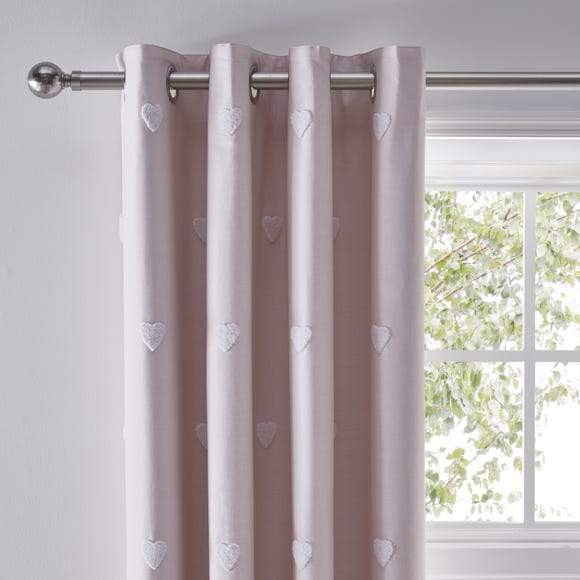 Pink Tufted Hearts Blackout Eyelet Curtains  undefined