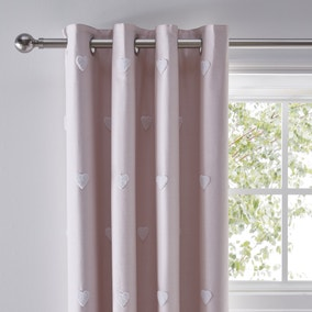 Pink Tufted Hearts Blackout Eyelet Curtains