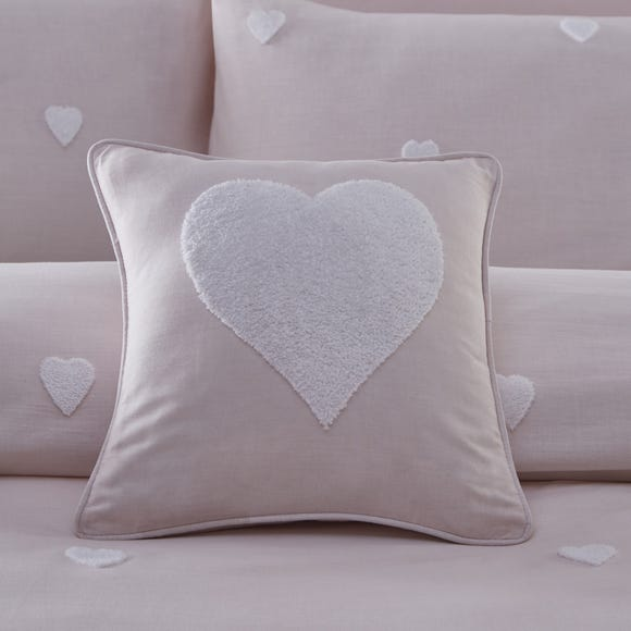 Pink Tufted Heart Cushion Pink