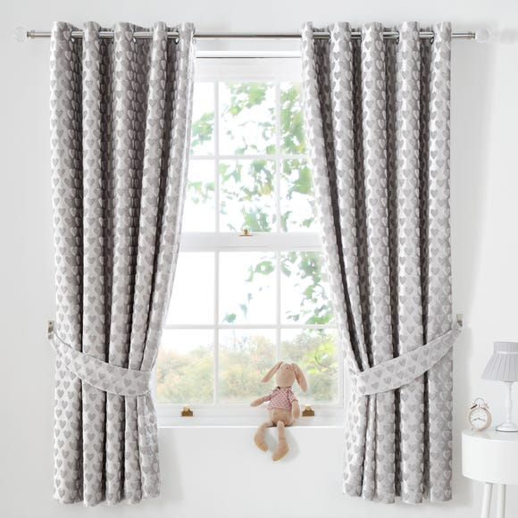 Sweetheart Silver Blackout Eyelet Curtains  undefined