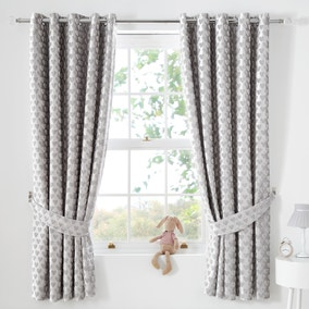 Sweetheart Silver Blackout Eyelet Curtains