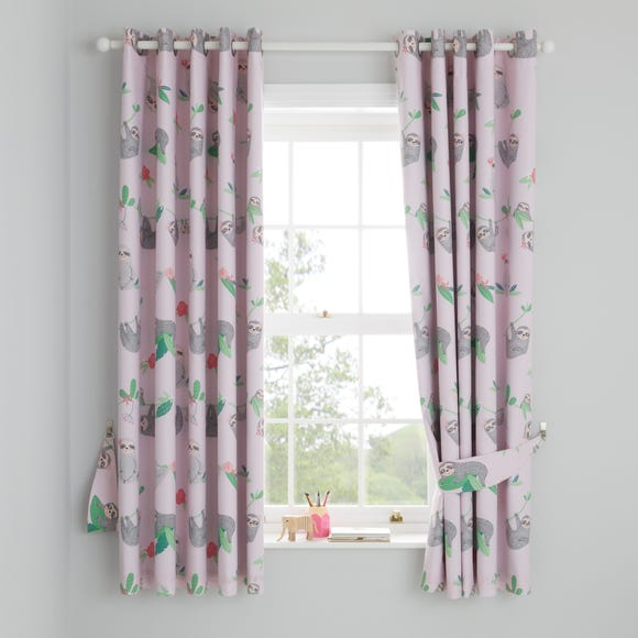 Pink Pretty Sloth Blackout Eyelet Curtains Pink undefined