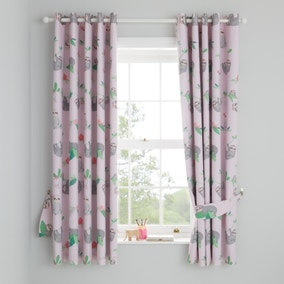 Pink Pretty Sloth Blackout Eyelet Curtains