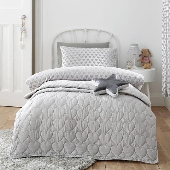 Grey Heart Bedspread