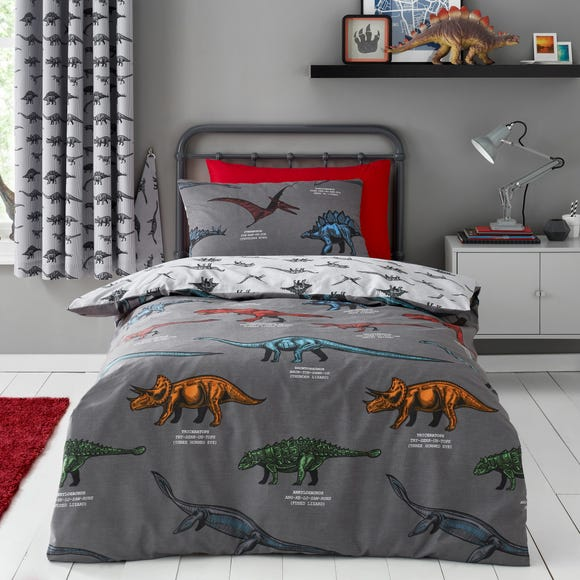 Dinosaur Friends Grey 100% Cotton Duvet Cover and Pillowcase Set Grey undefined