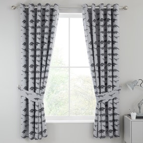 Dinosaur Friends Grey 100% Cotton Blackout Eyelet Curtains