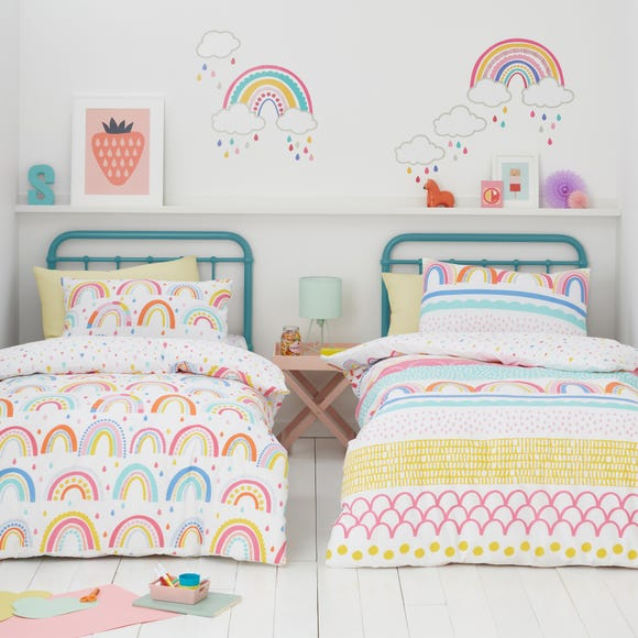Elements Rainbow Geometric 100% Cotton Duvet Cover and Pillowcase Twin Pack Set  undefined