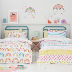 Elements Rainbow Geometric 100% Cotton Duvet Cover and Pillowcase Twin Pack Set