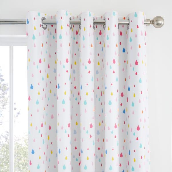 Elements Rainbow Geometric 100% Cotton Blackout Eyelet Curtains MultiColoured undefined