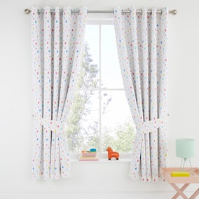 Elements Rainbow Geometric 100% Cotton Blackout Eyelet Curtains