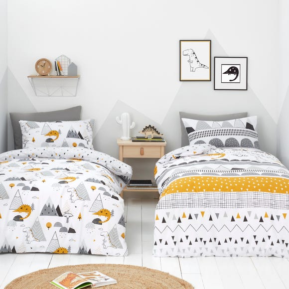 Elements Geosaurus 100% Cotton Duvet Cover and Pillowcase Twin Pack Set MultiColoured undefined