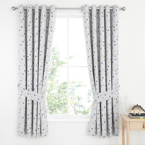 Elements Geosaurus 100% Cotton Blackout Eyelet Curtains