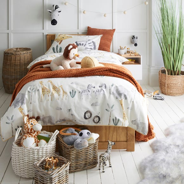 Safari Natural 100% Cotton Single Duvet Cover and Pillowcase Set  undefined