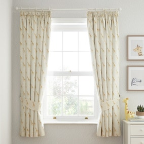 Safari Natural 100% Cotton Blackout Pencil Pleat Curtains