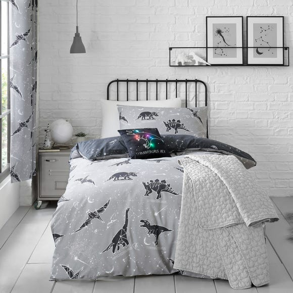 Black Space Dinosaur Single Duvet Cover and Pillowcase Set  undefined