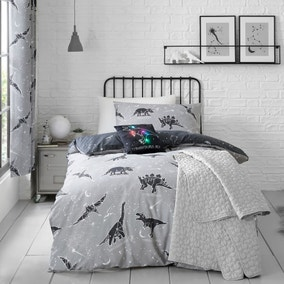 Black Space Dinosaur Single Duvet Cover and Pillowcase Set