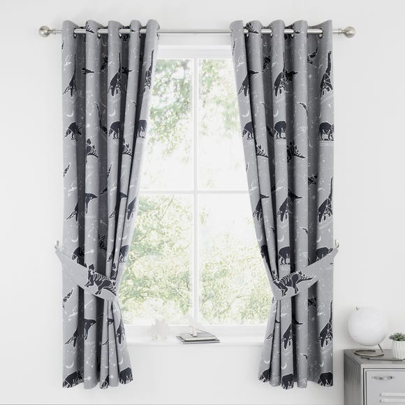 Black Space Dinosaur Blackout Eyelet Curtains Black undefined