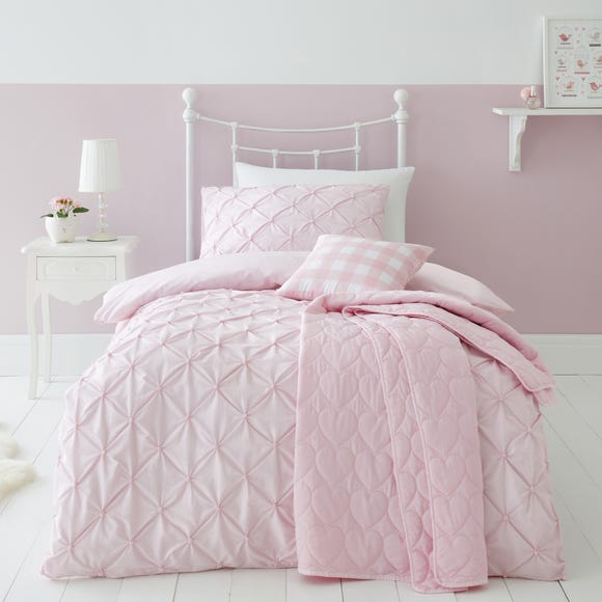 Pintuck Pink Polka Dot 100% Cotton Duvet Cover and Pillowcase Set Pink